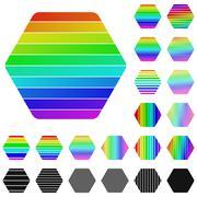 Set of rainbow hexagon logo designs - stock illustration