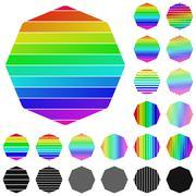 Set of rainbow octagon logo icons Stock Illustration