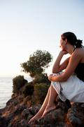 Young Woman Looking At Seaside Stock Photos
