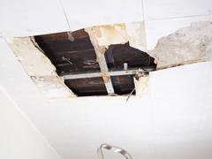 Water damaged ceiling . - stock photo
