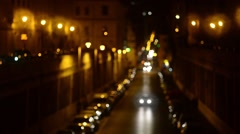 Rome Italy night traffic near Colosseo, Coliseum - stock footage