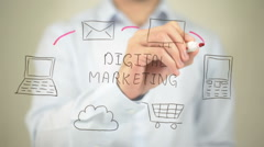 Digital Marketing,  Man writing on transparent screen Stock Footage