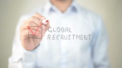 Global Recruitment,  Man writing on transparent screen Stock Footage