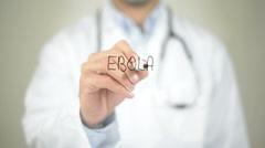 Ebola, Doctor writing on transparent screen Stock Footage
