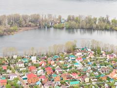 River Flood Aerial View  Homes and Park Stock Photos