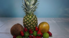 show and vanish exotic fruits time lapse - stock footage