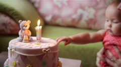 Birthday cake, Baby and mother celebrate first birthday holiday Stock Footage