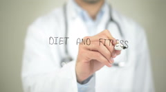 Diet and Fitness, Doctor writing on transparent screen Stock Footage