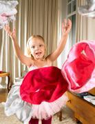 Girl throwing her panties aloft Stock Photos