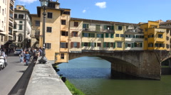 Pan to Scenic and romantic Ponte Vecchio, Florence, Italy Stock Footage