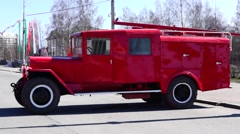 Old fire bluster tank truck Stock Footage