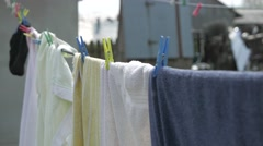 4K Drying Clothes on a Clothesline Stock Footage