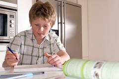 Boy 11, studying at home Stock Photos