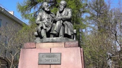 Monument to Karl Marks and Fridrich Engels Stock Footage