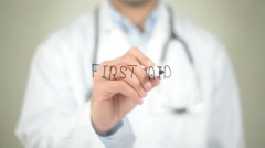 First Aid, Doctor writing on transparent screen - stock footage