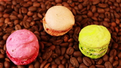 Macaroons and coffee beans Stock Footage