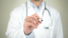 Alcohol, Doctor writing on transparent screen - stock footage