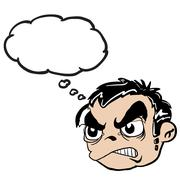 angry boy head with thought bubble - stock illustration