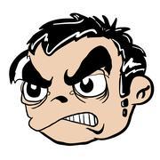 Angry boy head Stock Illustration