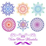 Vector Color Floral Mandala Set isolated on white Stock Illustration