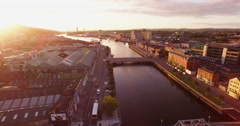Aerial of the City of Cork, Ireland at Sunrise Stock Footage