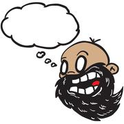 Bearded bald man with thought bubble Stock Illustration