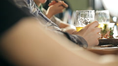 A fun company is drinking beer at the bar Stock Footage
