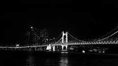 Monochrome, Black and White, Background, Gwangan Bridge at night in Busan, Korea Stock Footage