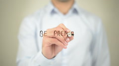 Be prepared,  Man writing on transparent screen Stock Footage