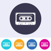 Vector audio cassette icon - stock illustration