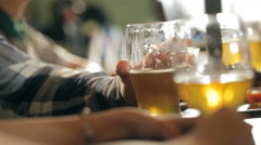 A fun company is drinking beer at the bar - stock footage