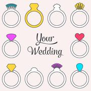 Card with engagement or wedding rings Stock Illustration