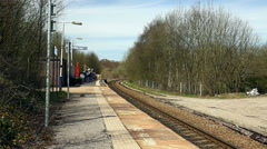 Entwistle request stop railway station Lancashire Stock Footage