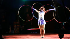 Glybokaya, Ukraine-March . Circus show girls with hoops - stock footage