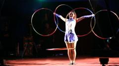 Glybokaya, Ukraine-March . Circus show girls with hoops Stock Footage