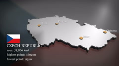 3D animated Map of the Czech Republic Stock Footage