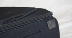 Closing baggage and zip on Suitcase  Luggage - Close Up, Macro Stock Footage