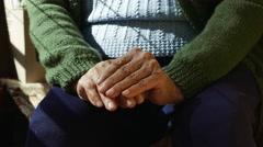 4K Old Wrinkled Hands Eldely Woman - stock footage