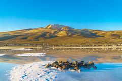 View of dormant volcano in Uyuni Salt Flat Kuvituskuvat