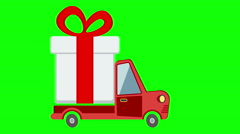 Delivery flat transport truck, van with gift box pack on green screen. Stock Footage