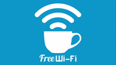 Internet cafe free wifi coffee cup sign. Stock Footage