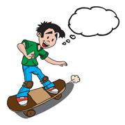 Boy on skate with thought bubble Stock Illustration