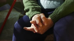 4K Old Wrinkled Hands Of a Woman Waiting - stock footage