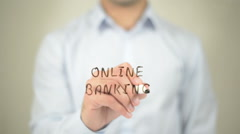 Online Banking,  Man writing on transparent screen Stock Footage