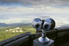 Public telescope view from Jested mountain near Liberec Czech republic Stock Photos