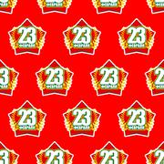 Red Star and 23 February seamless pattern. Background for feast of military i Stock Illustration