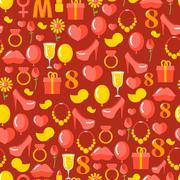8 March seamless pattern. Background of gifts for holiday. Kiss and heart. Ro Stock Illustration