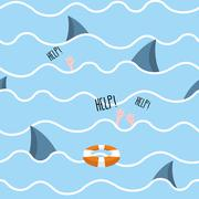Shark in  sea seamless pattern. Man drowns. Scenery screams help. Background  Stock Illustration