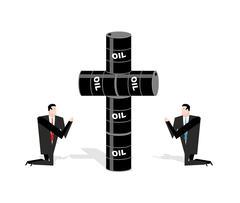 Businessman praying for oil. Cross of oil barrels. Prayer oil quotations. Peo Stock Illustration