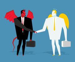 Angel and demon deal. Satan and angel shake hands. Handshake of businessmen.  Stock Illustration